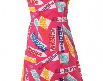Pink dress with names of God print