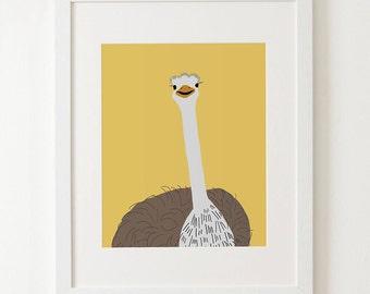 Ostrich kids prints,  zoo animal nursery, children's animal art, animal prints, kids wall art, childrens print