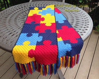 Autism awareness puzzle scarf