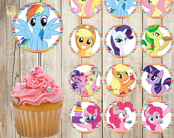 24  My Little Pony Cupcake Toppers, Rainbow Stickers, My Little Pony Stickers, Instant Download, Digital File, 2 inches