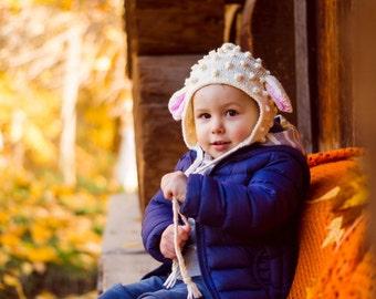 Knit Lamb Bonnet, Sheep Hat, Knit Lamb Baby Hat, Newborn Photo Prop, Lamb Knit Hat, Sheep Bonnet, Baby Bonnet, Toddler Girls, Infant Girl