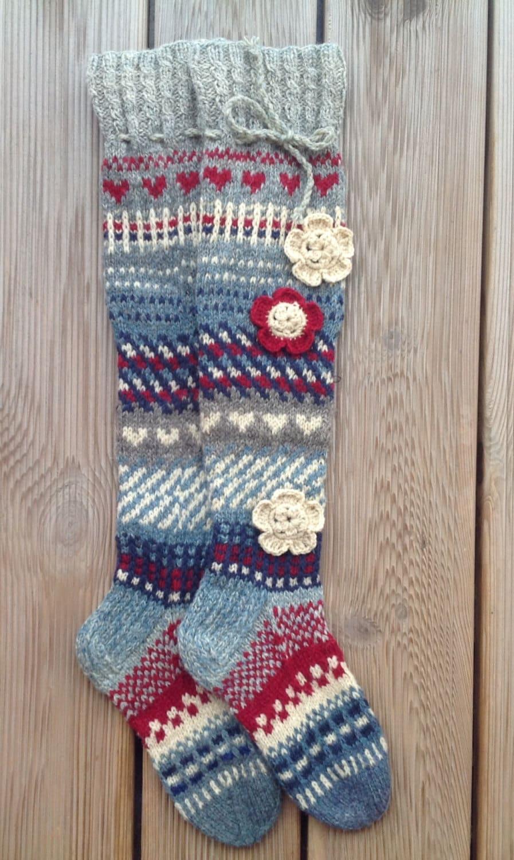 Knitting Pattern For Over The Knee Socks : Wool socks Knee high socks Hand knit socks Over the knee