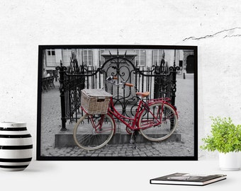 Bicycle Color Pop Antwerp Photography Download Antwerp Photography Instant Download Poster Art Wall Art Photography Black and White Red Art