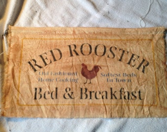 """PRIMITIVE Stencilled Canvas Sign 'Red Rooster B&B' 10 x 18"""""""