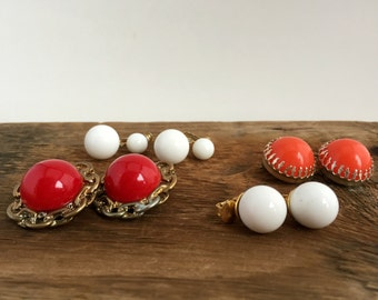 4 Pairs Vintage Round Clip On Earrings / Red, White, Orange