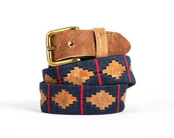 Polo belts - argentinian belts - embroidered leather belt from Argentina - raw leather belt for man and women - Blue Red - Kamyno