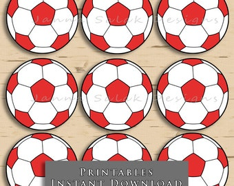 """2"""" Soccer Ball Printable Cupcake Toppers Red and White Sports Theme Birthday Party DIY Printable INSTANT DOWNLOAD"""