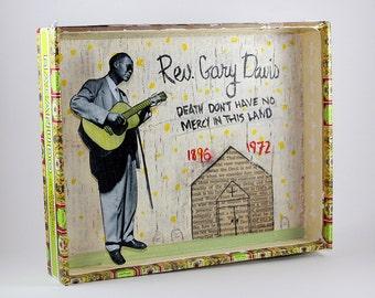 Reverend Gary Davis blues folk art cigar box