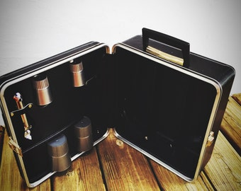 Vintage Travel Bar Portable Suitcase Bar 50's Mad Men Party to Go (Large size)