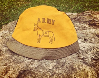 Vintage 50's West Point Army Hat Bucket Style with Donkey Vintage Military