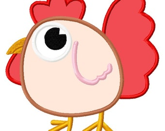 Cute Baby Rooster Chicken Applique Embroidery Design file 3 sizes Instant Download