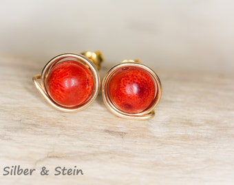 coral stud earrings goldfilled