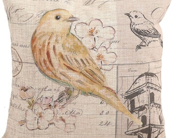 Yellow Bird Cushion Cover, Pillow Case