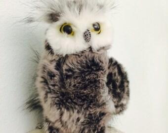 Stuffed Owl Plush, Black White Owl Aurora World