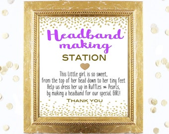 Baby Shower Sign - Headband Making Station 8x10 Sign - Design a Headband - Printable Instant Digital Download Purple Gold Baby Shower Girl
