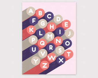 Alphabet, ABC Print, Modern Nursery Art, Alphabet Art, Nursery Decor, Art for Kids Rooms, Prints, Wall Art, ABC, Baby Girl Nursery Art