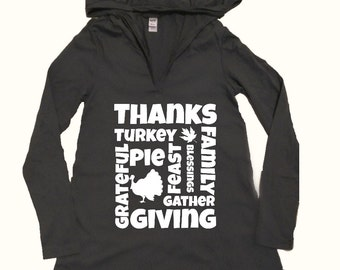 Thanksgiving Words, Women's Hooded Shirt