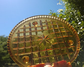 1930's Amber Glass Cake Platter ~ Tri Footed ~ Cross Cut Pattern