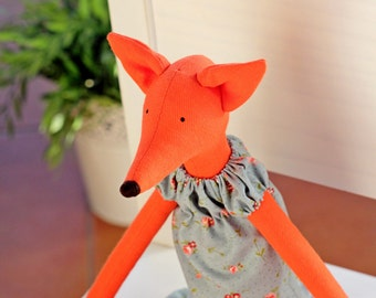 Red Tilda Fox in dress, Fox toy, Stuffed fox, rug doll fox, fox tilda