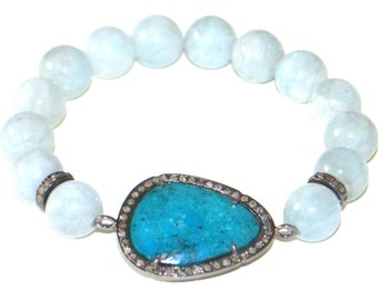 Aquamarine And Turquoise Diamond Bracelet