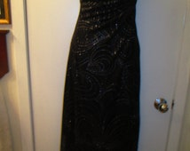 Vintage Beyer Two stretchy polyester strapless nipped waist assymetrical black and silver evening gown. Prom, holiday, club party dress.