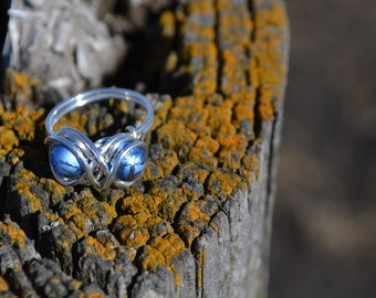 Handmade Ring, Wire Ring, Wire Wrapped Ring, Blue Ring, Bead Ring