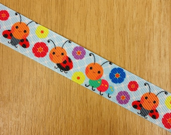 "7/8"" Happy Ladybug Caterpillar Printed Grosgrain Ribbon Bows HairBows Craft Supplies"