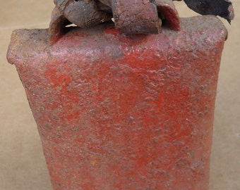 antique cow bell,vintage cattle metal bell with collar strap,farm barn primitive decor