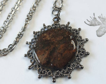 """30"""" Real Spruce Bark & Resin Pendant Necklace -Gunmetal Finish, Nature, Outdoor Jewelry"""
