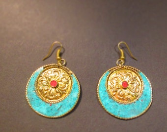 Earrings spiral earrings brass Tibet