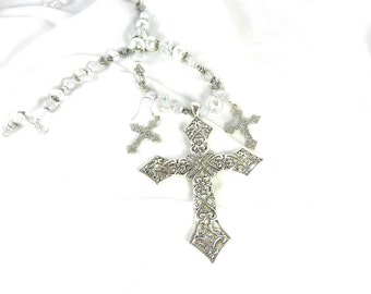 Silver Cross with Crystals, Pearl and Crystal Necklace with Earrings, Crystal Cross Necklace, Silver Cross Earrings, Silver Cross Necklace