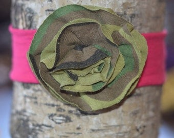 Hot pink and camo upcycled tshirt flower headband, size 6-12 MONTHS