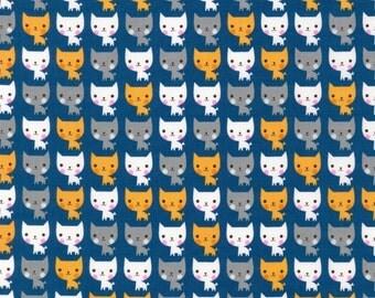 Suzy's Minis - Cats Fabric - Navy - By Robert Kaufman Fabrics