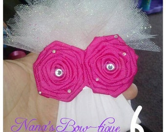 flower headband with tulle for baby girl