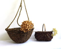 Vintage Hanging Basket Round Antique Wicker Wilow Holder Bohemian Boho Natural Organic Large Wall Plant Hanger Garden Decor Wood Planter