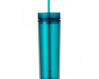 Aqua Skinny Tumbler with Straw- 16 oz.