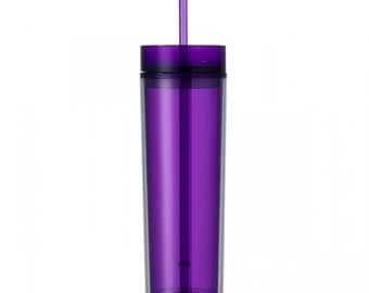 Purple Skinny Tumbler with Straw- 16 oz.