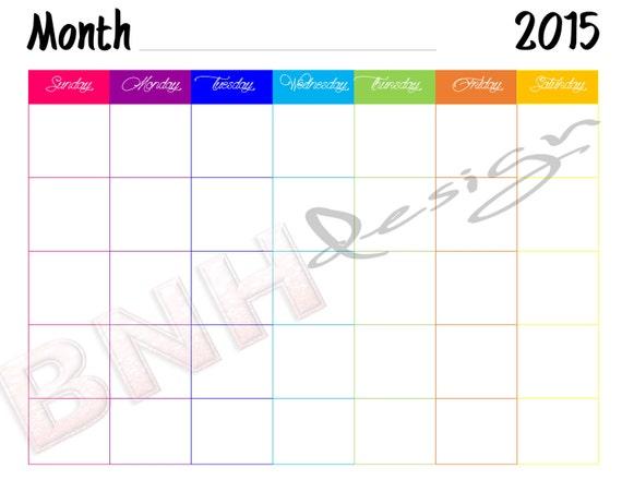 monthly blank calendar 2015  monthly blank calendar 2016 free