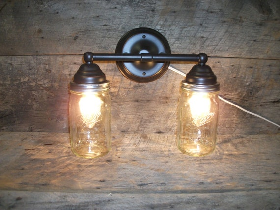Ball Jar Vanity Lights : Mason Jar Light 2-Light Rubbed Bronze Rustic Mason Jar Vanity