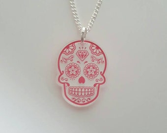 Sugar skull acrylic plastic charm necklace pink red