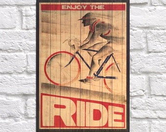 Bicycle gift Wood art Inspirational men bike gift typography quote Wood wall art Cycling decor gift for Boyfriend Panel effect wood print