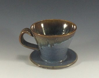 Blue and Bronze Pour Over Coffee Maker Brewer - Pour Over Cone Coffee Maker - Drip Coffee Maker - Pottery Pour Over Coffee Maker