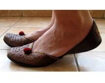 Copper Ballet Flats /Handmade Indian Designer Women Shoes or Slippers/Sequins Shoes/Maharaja Style Women Jooties
