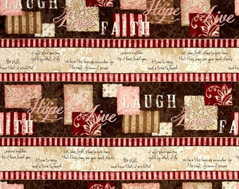 1 YD - Words to Live By (Repeating stripe) by Wilmington Prints