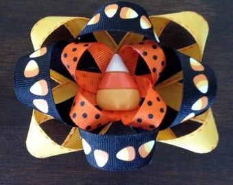 Candy Corn Halloween Boutique Hairbow