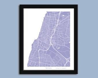 Tel Aviv map, Tel Aviv city art map, Tel Aviv wall art poster, Tel Aviv decorative map
