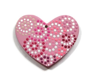 Shades of Pink Polka Dot Heart Ceramic Ornament Ready to be Personalized