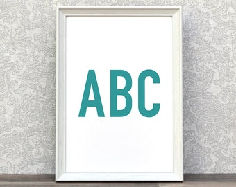 ABC | ABC Print | Childrens Typography Art | Playroom Decor | Alphabet | Poster ABC | Teal | Kids Wall Art | Typo Art | Prints Posters Kids