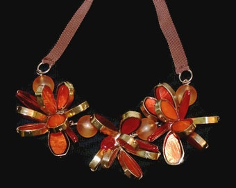 Vintage  Autumn Flower Necklace Fall Flower Necklace Necklace