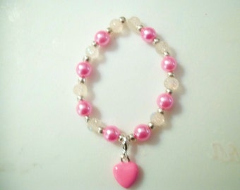 Pink and White Stretch Beaded Bracelet with Pink Heart